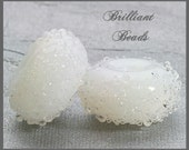 White Alabaster Sugared Glass Bead Pair - Handmade Lampwork Beads, Made To Order