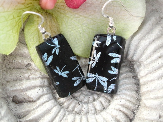 Silver Dragonfly- Dichroic Fused Glass Jewelry - Fused Dichroic Glass Sterling Earrings 071412e101