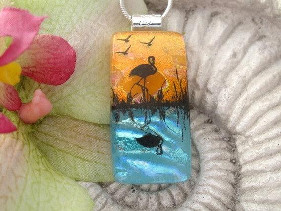 Flamingo Necklace- Flamingo Jewelry - Mirror Image - Dichroic Glass Jewelry - Flamingo Pendant -  Exclusive -Fused Glass  Bird  071812p101