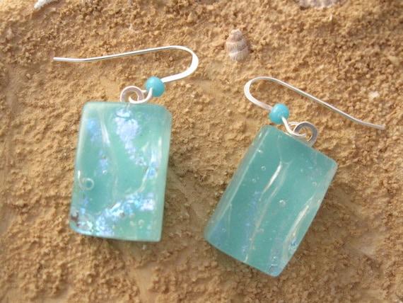 Dichroic Glass Earrings - Dichroic Fused Glass Jewelry - Aqua  - Fused Glass Earrings - Swarovski Crystal 052312e100