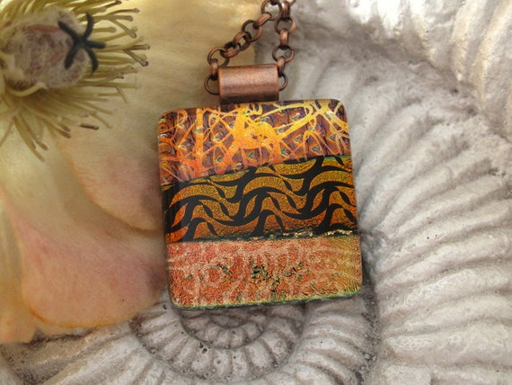 Copper Necklace - Dichroic Glass Jewelry - Fused Glass Pendant  - Copper Jewelry - Dichroic Glass Necklace 081512p101