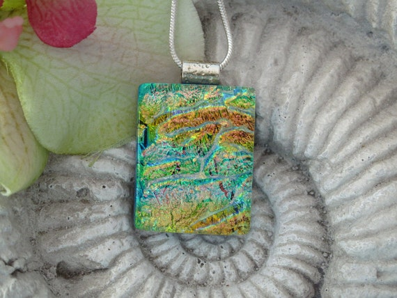 Dichroic Fused Glass Jewelry - Monet Watercolor -  Fused Glass Jewelry - Green Gold- Aqua- Necklace 082912p102