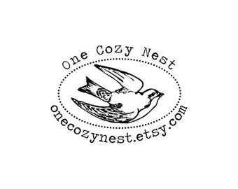 custom oval swallow bird rubber stamp