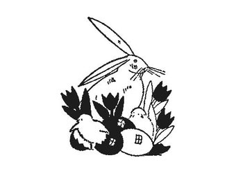 CLEARANCE Easter Bunny Rabbit Easter Eggs and chicks Rubber Stamp