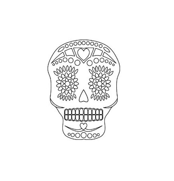 Sugar skull rubber stamp, Day of the Dead stamp