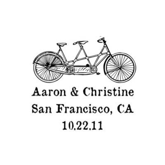 Bicycle built for two custom tandem Rubber Stamp wedding stamp bike
