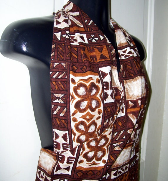 VTG Tiki Sarong Dress Brown Hawaiian Luau Cotton Wrap Mini Dress Summer Party