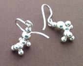 ethanol earrings - alcohol molecule - in solid sterling silver