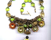 Statement Necklace . OOAK . Beaded Bee &Flowers . Floral .Natural Topaz Smokey Quartz Peridot Agate - Bee My Honey by enchantedbeads on Etsy