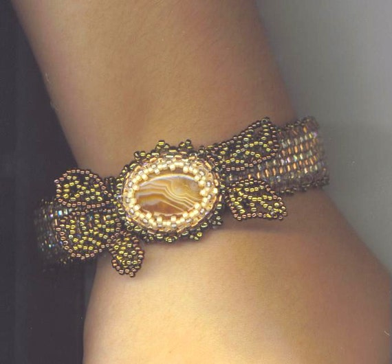 Golden Flower Statement Jewelry . Beaded Cuff Bracelet . Agate Stone . Beaded Leaves . OOAK - Floral Dreams by enchantedbeads on Etsy