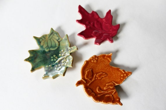 Colorful Ceramic Leaves for Decorating // Ring Catchers //  Green, Orange and Pink