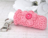 Plush Lip Balm Cozy, Keychain Key Holder, Coral Mist Keychain with Crochet Hot Pink Puff Flower
