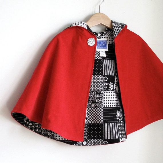 Little Red Riding hooded toddler girls cape -size 2t - black and white patchwork lining