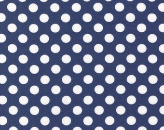 Robert Kaufman Spot On, Dots Navy Fabric - Half Yard