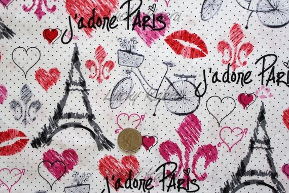 NEW Timeless Treasures Sketchy Paris White Fabric - By the Yard