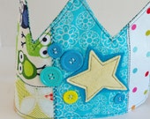 Birthday Crown for Boy : Patchwork Fabric Crown 'Star Child'  (Size 3T -6T)