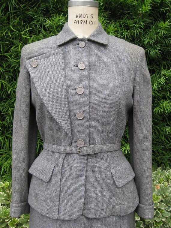 Vintage 1940s Womens Suit Grey Wool MOVING SALE