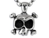 """SKULL Pendant Necklace in Sterling Silver 'Louie the skull"""""""