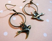 Antique Bronze Bird and Hoop Earrings
