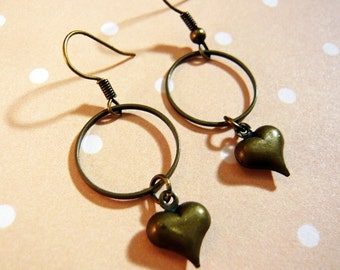 Heart and Hoop Dangle Earrings