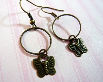 Antique Bronze Butterfly Hoop Earrings