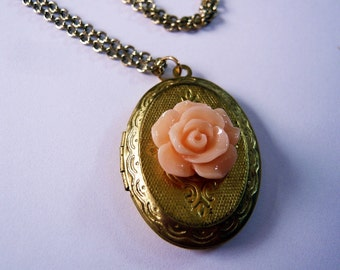 Coral Pink Rose Brass Locket Necklace