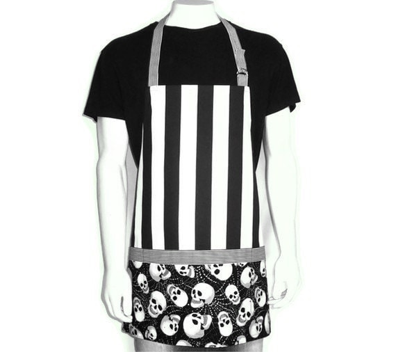 Black and White Skulls and Stripes, Full Kitchen Apron, Adjustable with Glow in the Dark  Pockets