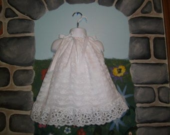 Precious white Baptism Christening short lace dress with headband 0-3, 3-6, 6-9, 9-12 months