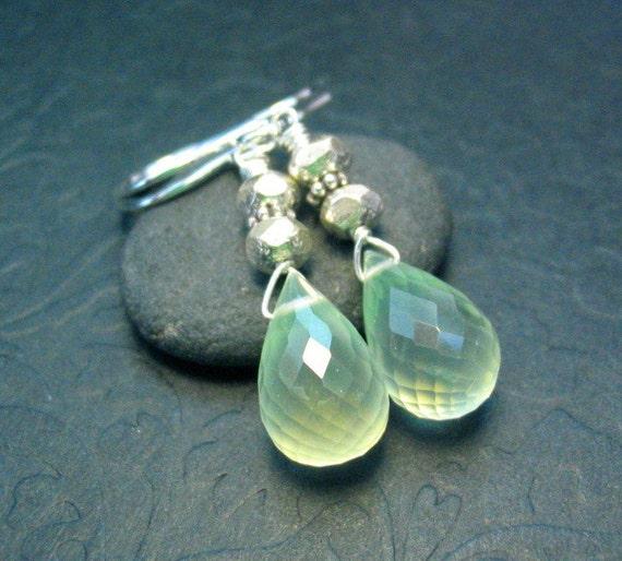 Prehnite Sterling Silver Dangle Gemstone Teardrop Earrings