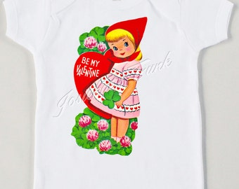 "Valentine Girl ""Be My Valentine"" Tee Custom Size Tshirt Retro Tee Vintage Heart Personalized"