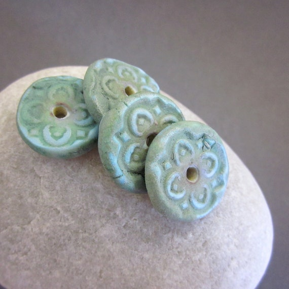 Rustic Porcelain Disk Beads