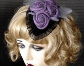 Iridescent Purple Silk Flowered Fascinator On Sale