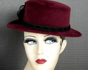 Wine Red Velour Parisian Boater Style Hat On Sale