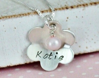 Sweet Pearls and Petals Girls Hand Stamped Personalized Name Necklace ...Personalized Necklace Jewelry