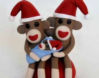 Ready to SHIP Priority Mail! Sock Monkey Baby Frist Christmas Santa Family Tree Keepsake Ornament