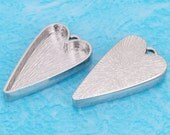 10pcs 14X25mm Great heart Silver tone Pewter bezel blank Pendant Tray-Saint Valentine Day