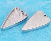 10pcs 14X25mm Great heart Silver tone Pewter bezel blank Pendant Tray-Saint Valentine Day