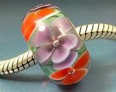 PURPLE & ORANGE Flowers Handmade Lampwork Glass BHB European Charm Big Hole Bead sra Gelly