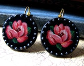 Gypsy Rose Earrings Decoupaged on Black Wood