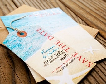 Tropical Save The Date Tag - Star Fish Beach Design - Save the Date Magnet Tags - Wedding Invitations - Design Fee
