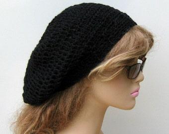 Black slouchy hat, Soy hemp wool hat, small dread Beret hat, Slouchy Beanie Hippie Tam Hat, slouch beanie, woman beanie, man hat, grunge hat