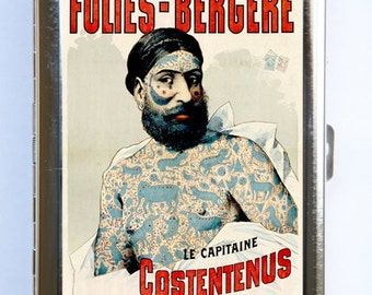 Vintage French  Circus Poster Cigarette Case Wallet Business Card Holder tattooed man  sideshow performers freaks