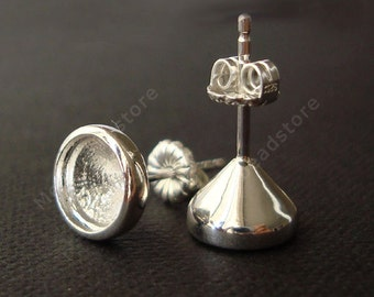 7mm Heavy Bezel Cup (Cone) Ear Post 925 Sterling Silver Earring Posts w/ Backing F394-2 pcs