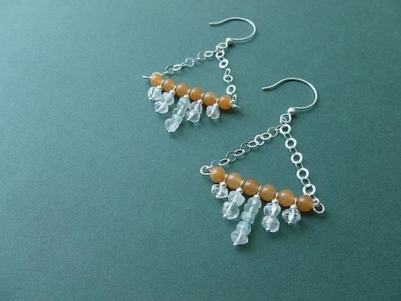 fantastic long beaded gemstone earrings in agate, clear and aqua crystal quartz and sterling silver so elegant