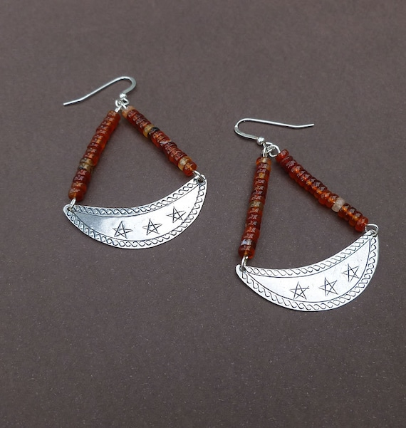 stunning silver crescent earrings with red agate heishi beads sterling silver earrings