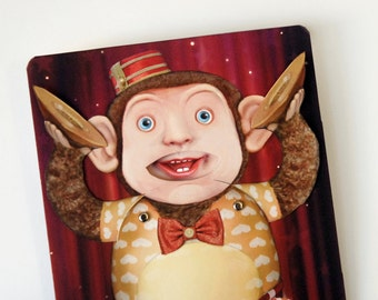 Circus Birthday Pop Up Card - KOKO the Toy Monkey with banging cymbals and laughing face. Fun memorable for kids, adults and man child.
