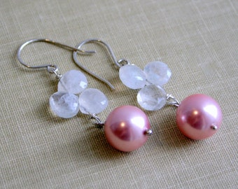 Pink Glass Pearl & Moonstone Sterling Silver Earrings- Gifts under 40