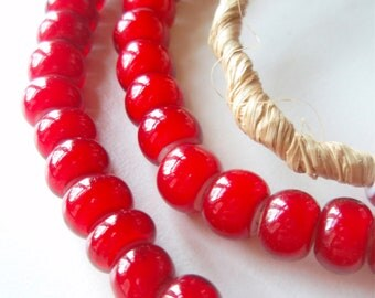 Red White Hearts - a firey strand of African Trade Beads - 24 inches, 88 beads