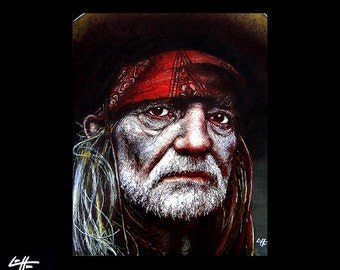 "Print 8x10"" - Willie Nelson  - Portrait Country Alternative Blues Bluegrass Guitar Jazz Hippy Cowboy Outlaw Texas Beard Rebel Whiskey"