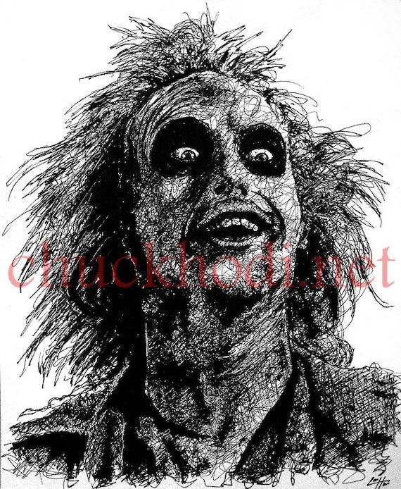 Beetlejuice Original Drawing Horror Comedy Tim Burton